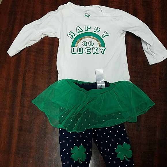 0-3 3-6 Patrick/'s Day 1 Piece Old Navy Infant Happy Go Lucky Green /& White St